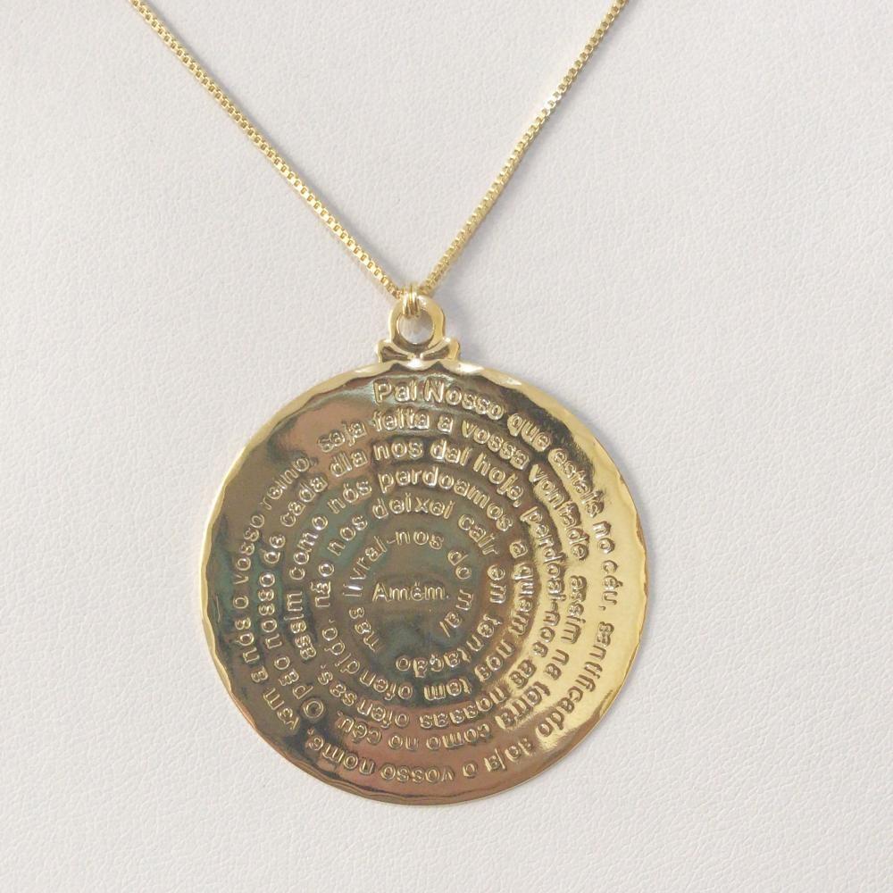 Colar Pai nosso Mandala Folheado a ouro 18k