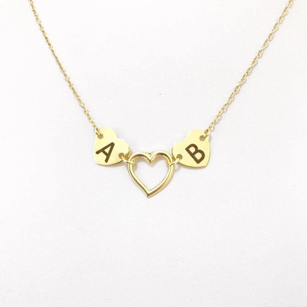 Colar Personalizado coração folheado a ouro18k Escolha o seu Banho)