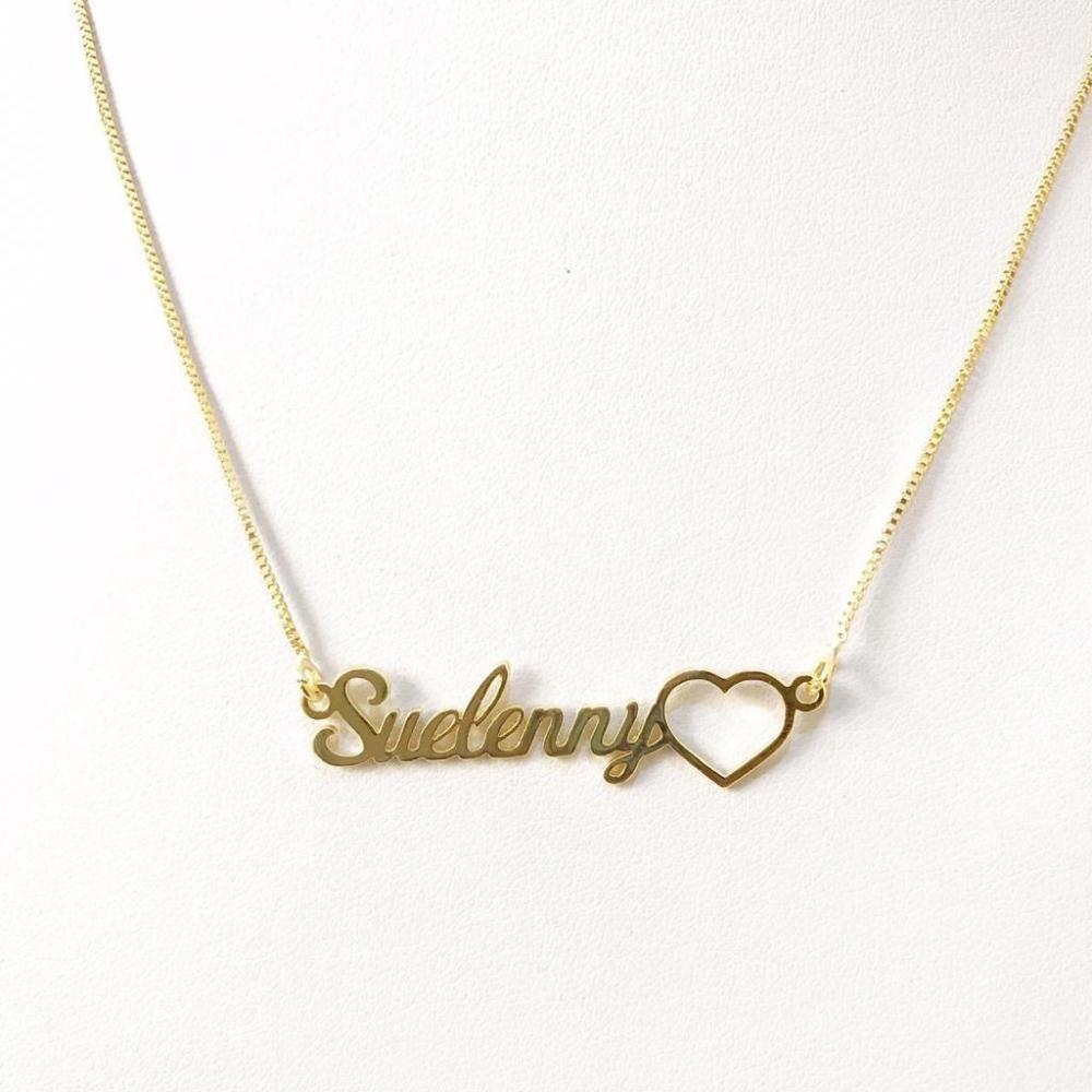 Colar Personalizado com nome simples e pingente coração