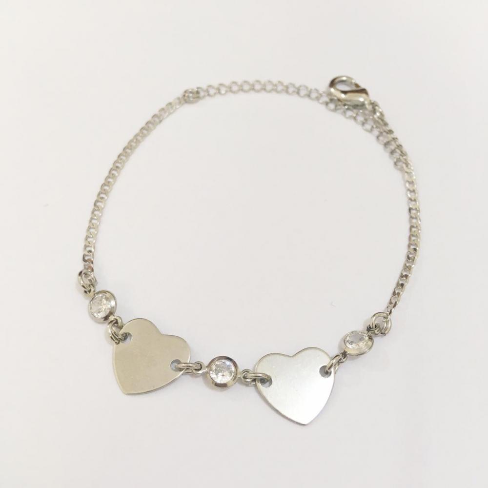 Pulseira minimalista com coração e zircônia prata ródio branco