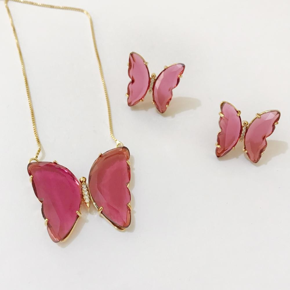 Conjunto de borboleta com zircônia de vidro folheada a ouro 18k