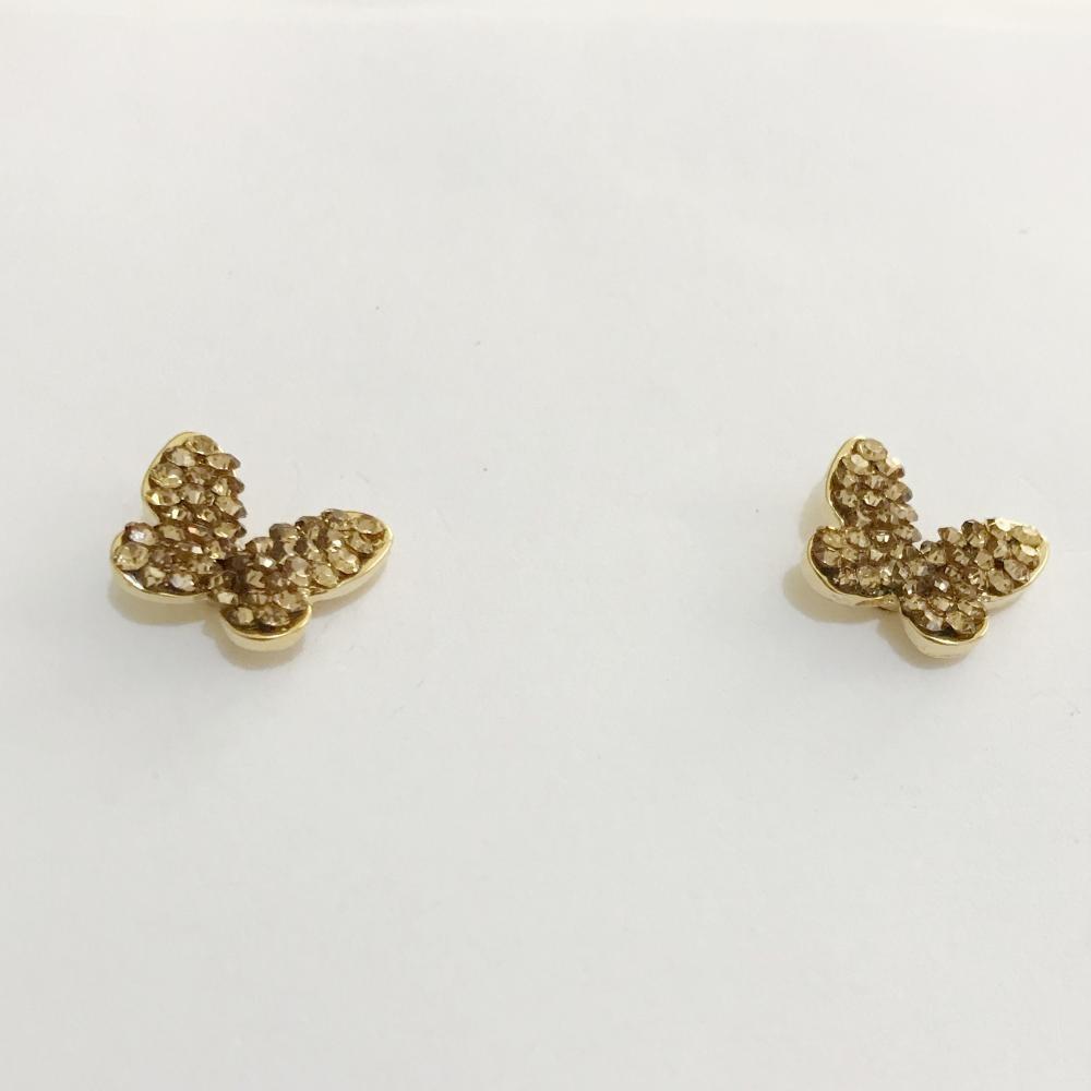 Brinco de borboleta mini com strass light color folheado a ouro 18k