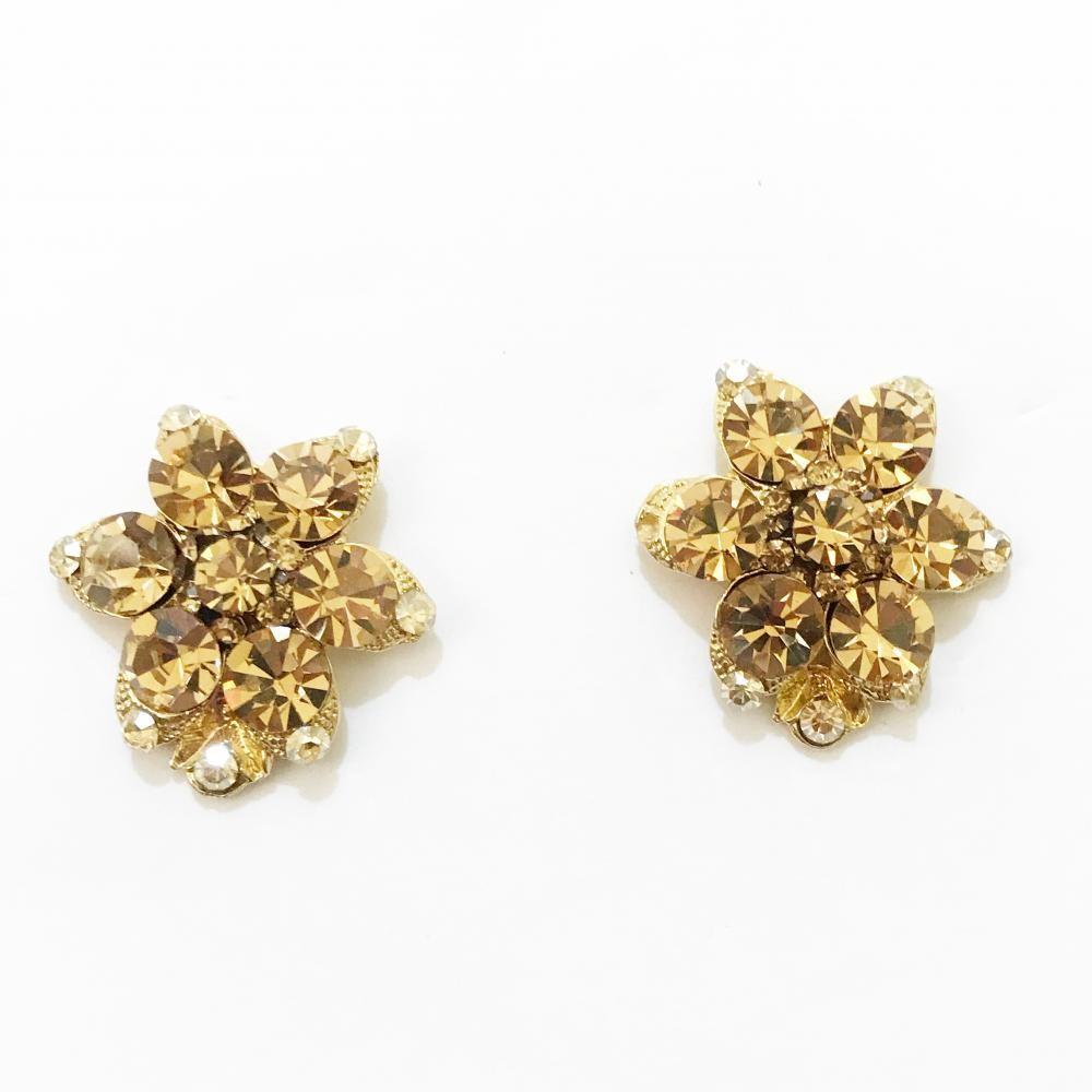 Brinco de flor com strass folheado a ouro 18k