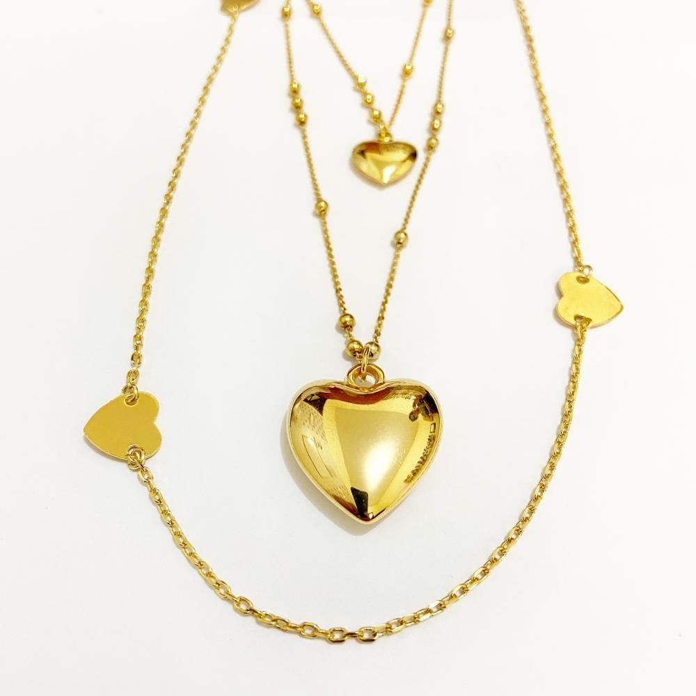 Mix de colar de coração folheado a ouro 18k