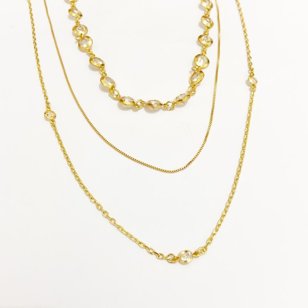 Mix de colar de cristais folheado a ouro 18k