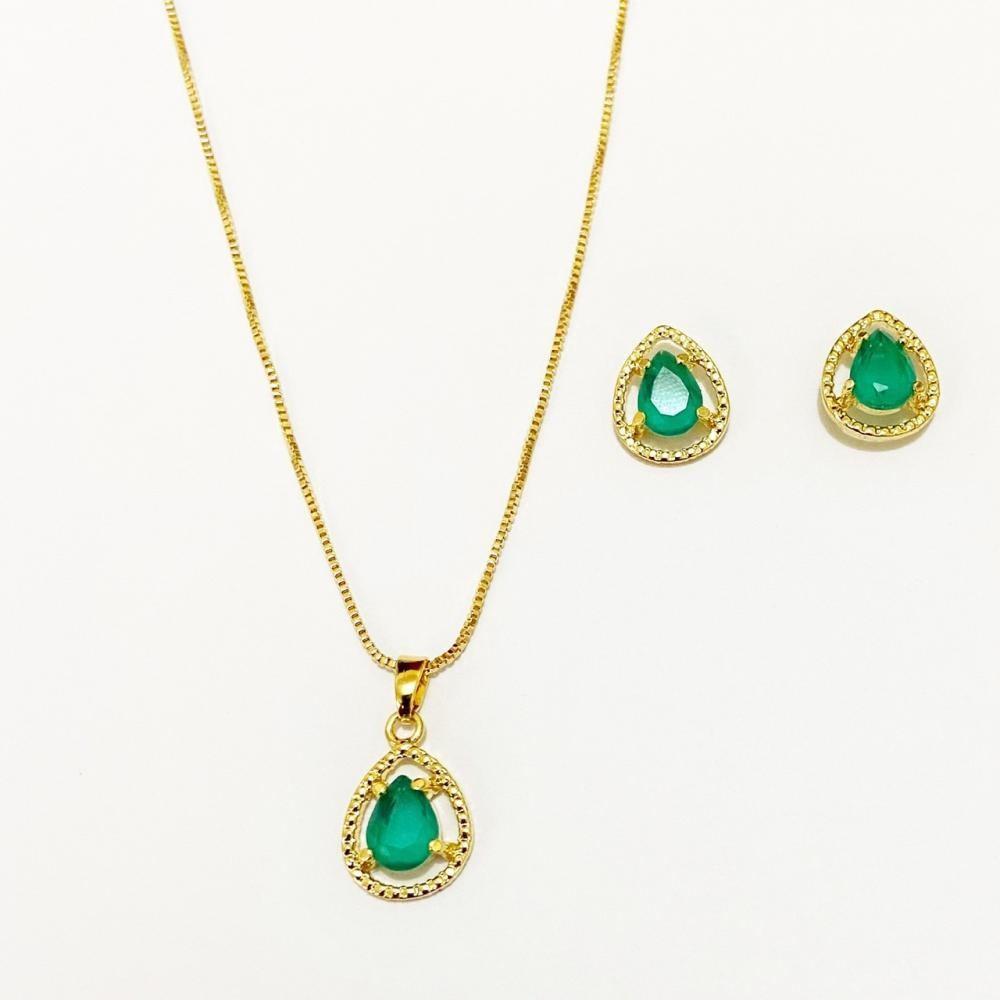 Conjunto de gota verde folheado a ouro 18k