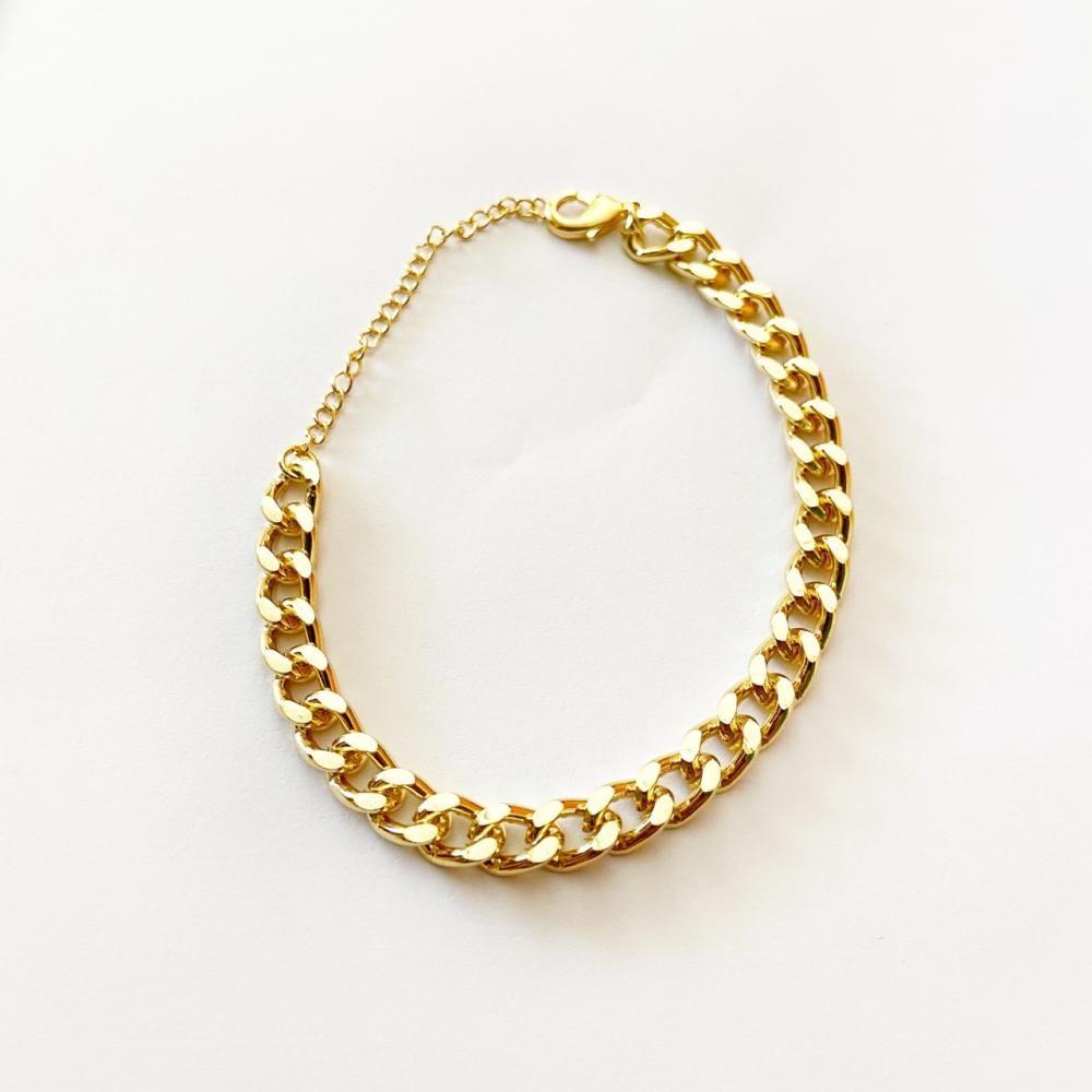 Pulseira de elos diamantado folheado a ouro 18k