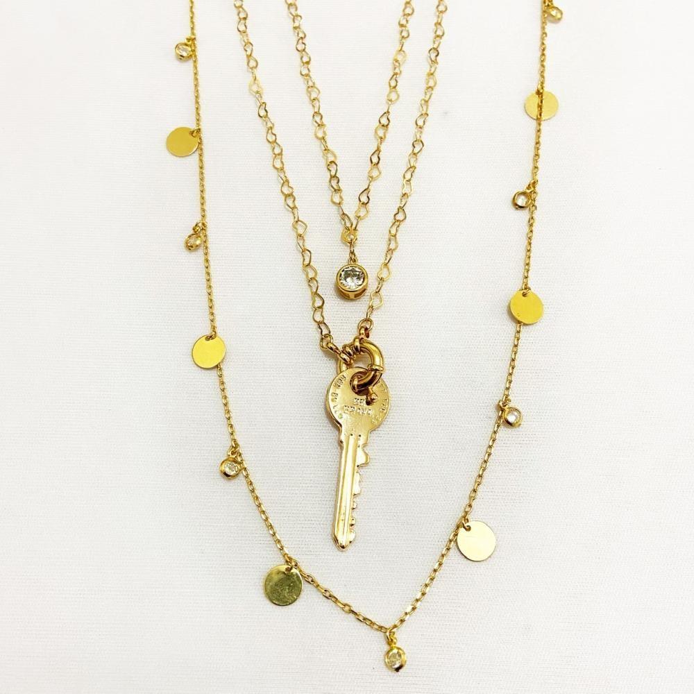 Mix de colares com corrente coração e pingentes folheado a ouro 18k