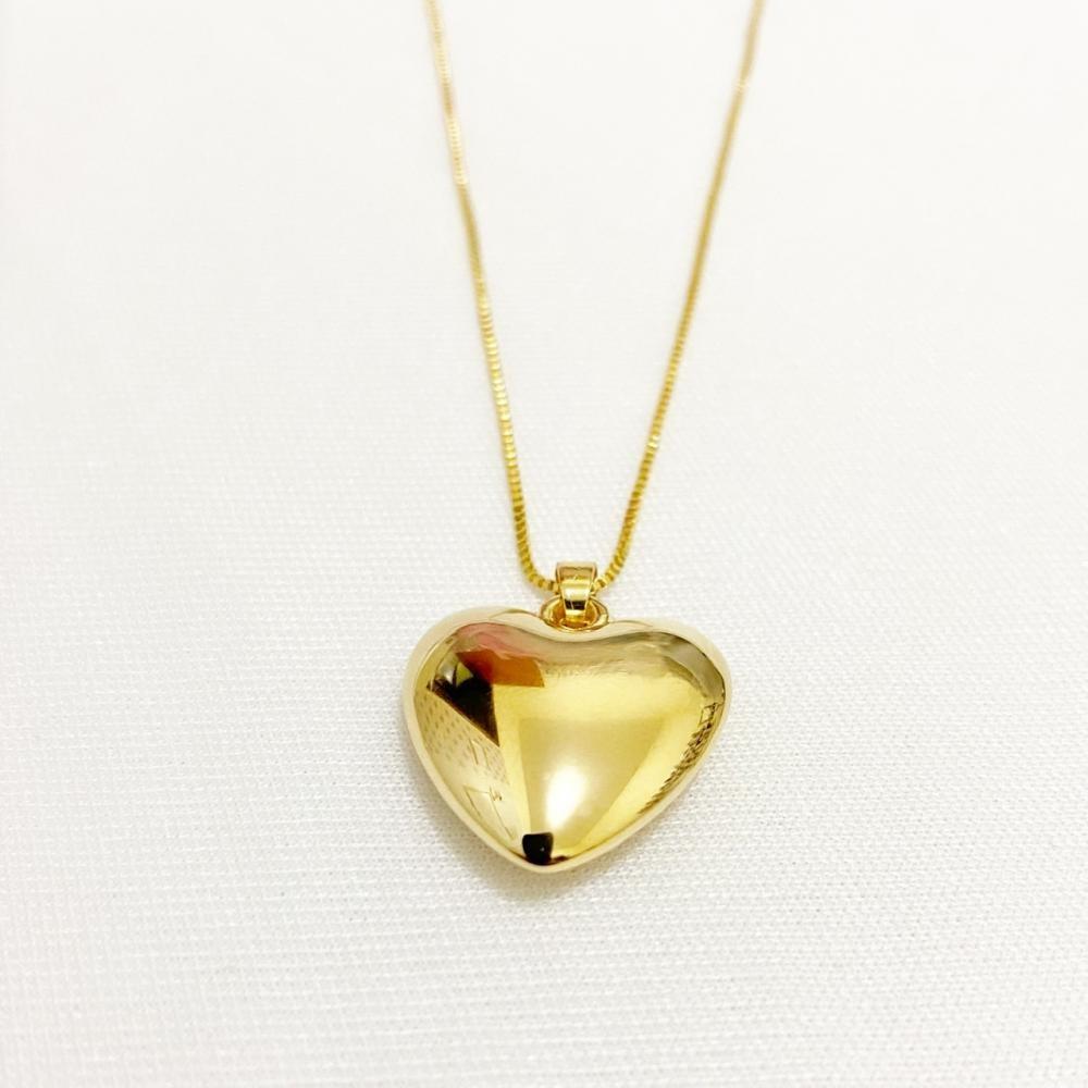 Colar com pingente de coração liso folheado a ouro 18k