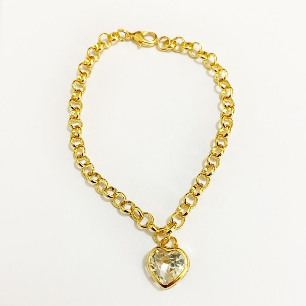 Pulseira elo português com pingente de coração com zircônia cravejada folheado a ouro 18k