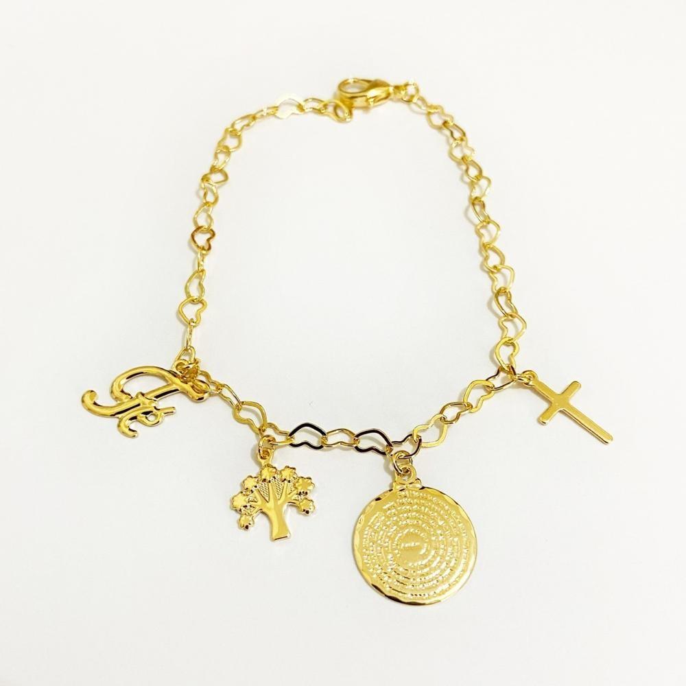 Pulseira minimalista com pingentes religiosos folheado a ouro 18k