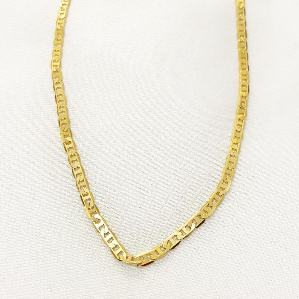 Colar masculino com corrente italiana chapada folheado a ouro 18k