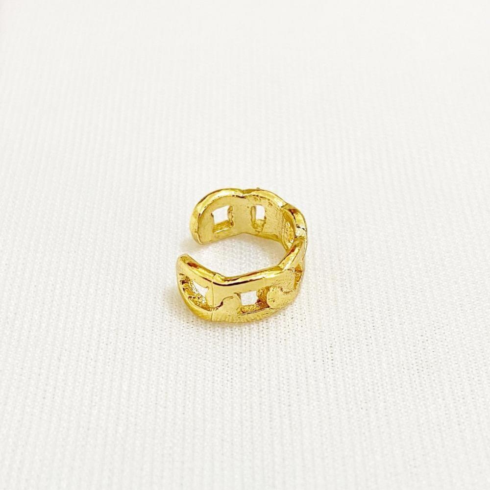 Piercing fake pequeno com elo italiano chapado folheado a ouro 18k