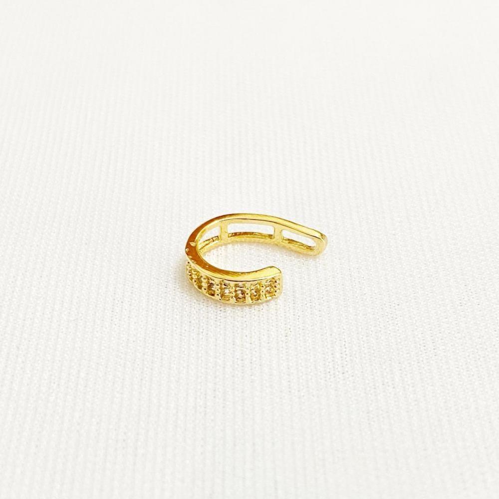 Piercing fake pequeno cravejado com zircônia folheado a ouro 18k
