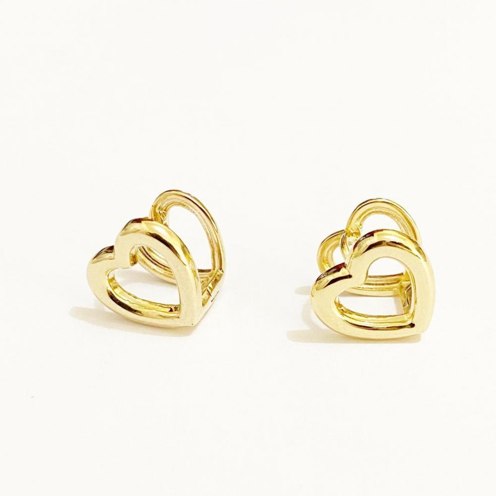Argola duas faces de coração folheada a ouro 18k