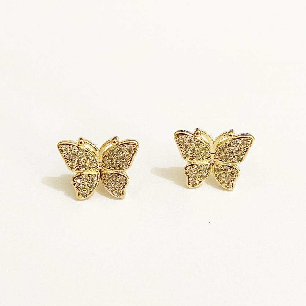 Brinco de borboleta cravejado com zircônia folheado a ouro 18k