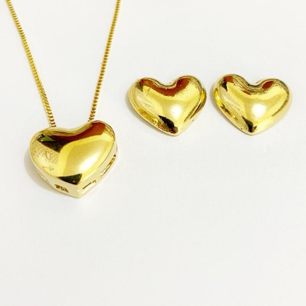 Conjunto de coração liso folheado a ouro 18k