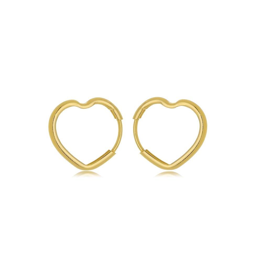 Brinco de argola PP de coração vazado folheado a ouro 18k