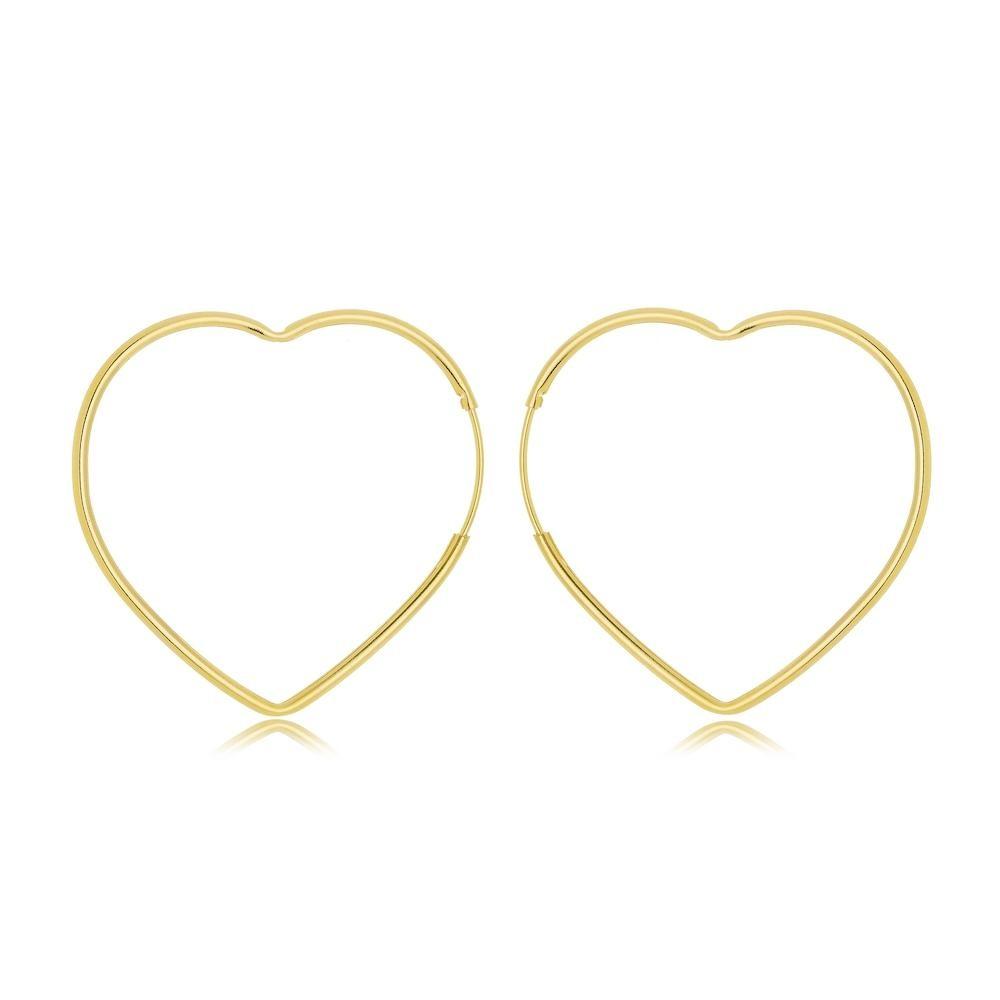 Brinco de argola de coração tamanho médio vazada folheado a ouro 18k