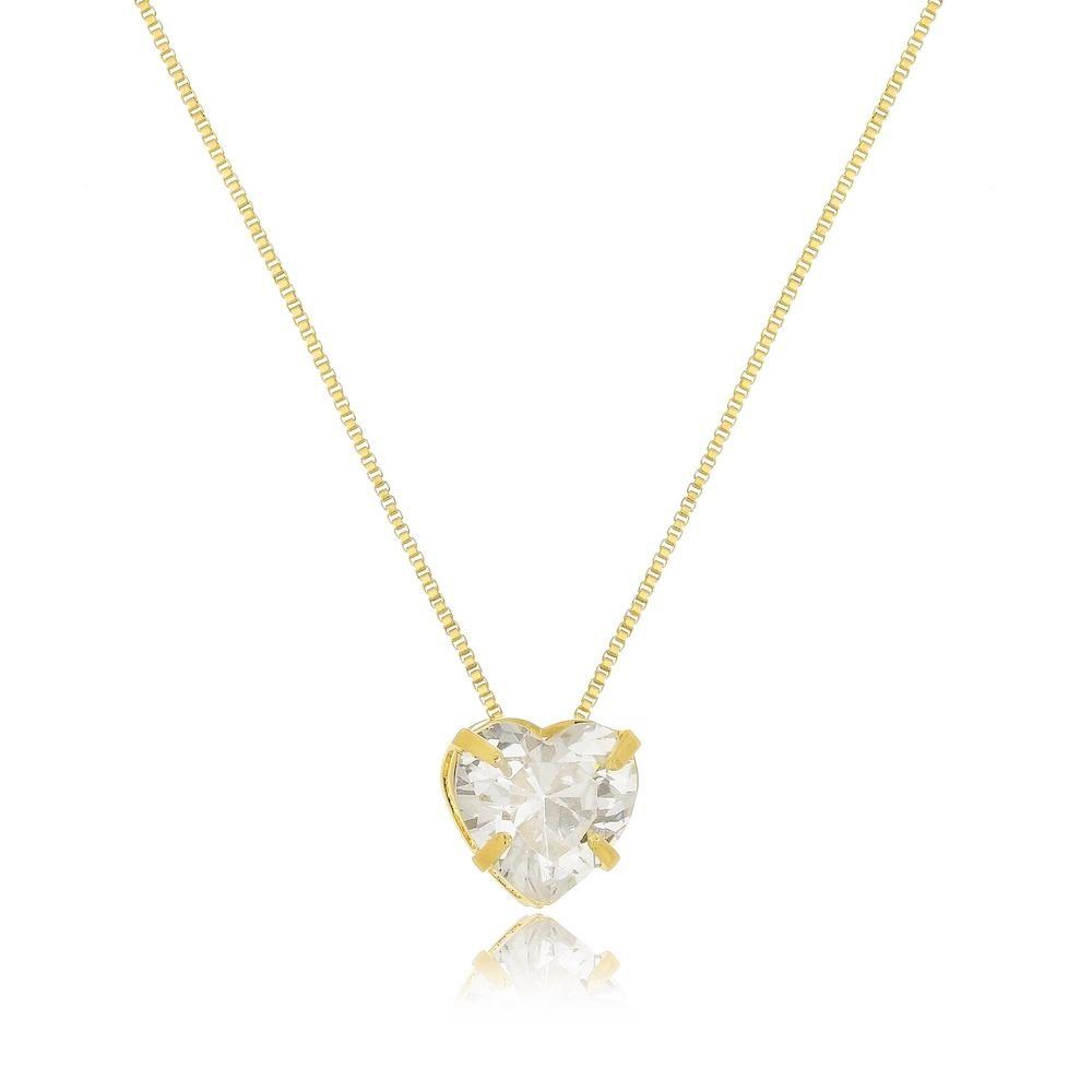 Colar ponto de luz com pingente de coração cravejado com zircônia folheado a ouro 18k