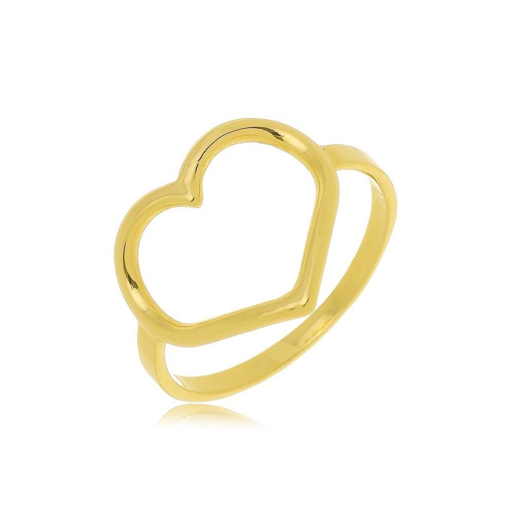Anel de coração vazado folheado a ouro 18k