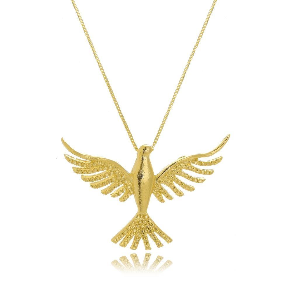 Colar com pingente de pomba do Espírito Santo folheado a ouro 18k