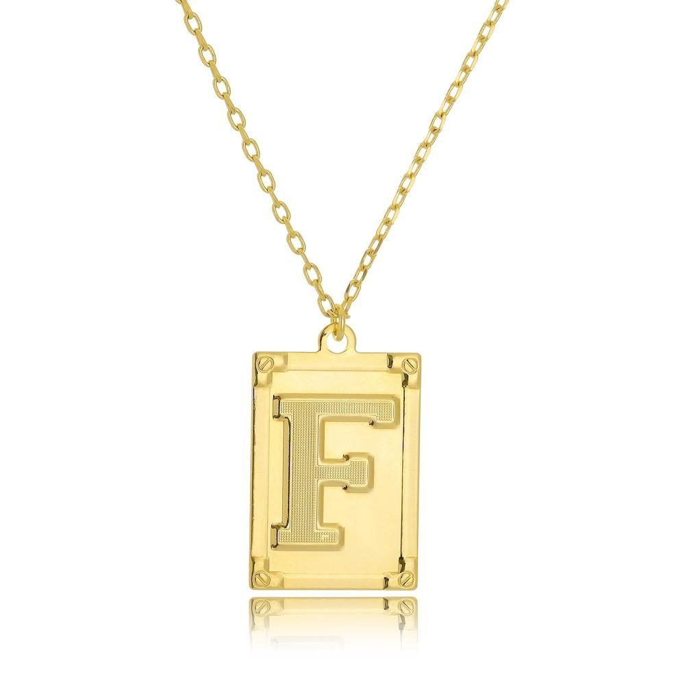 Colar personalizado de placa com letra folheado a ouro 18k