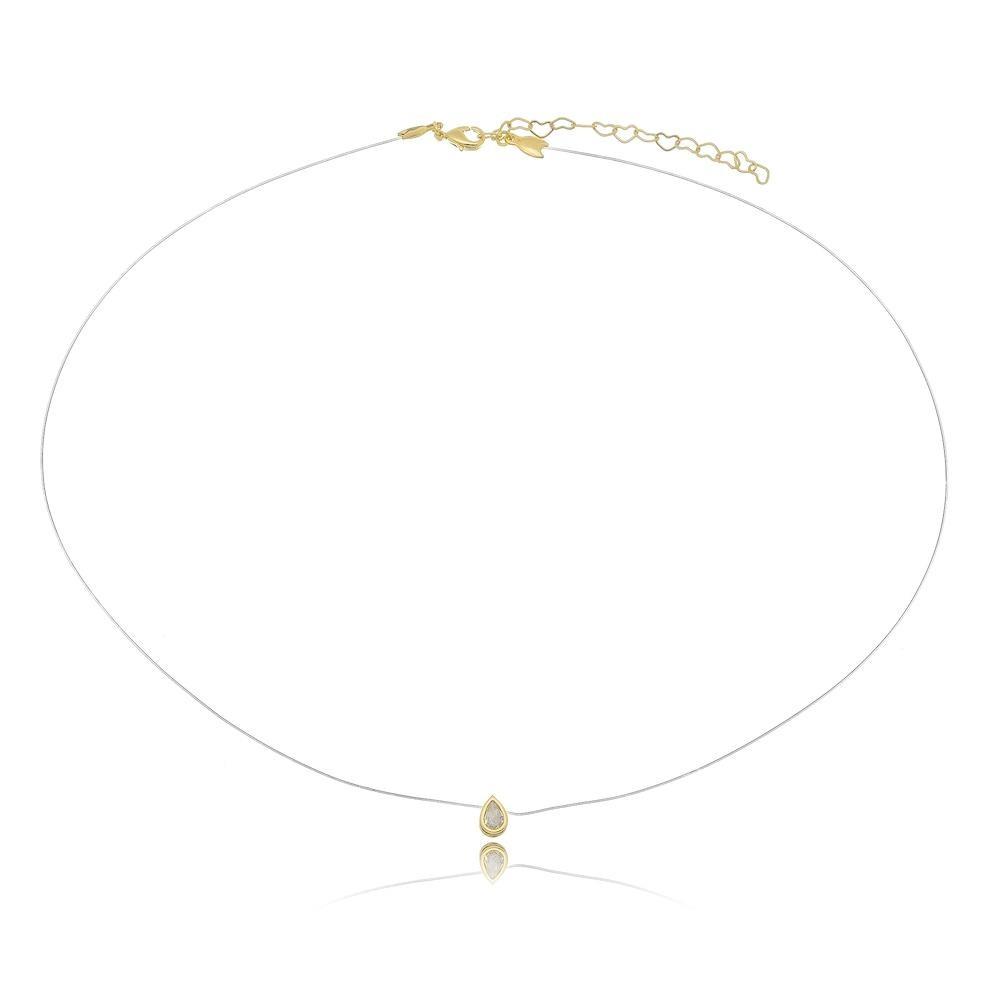 Colar ponto de luz com formato de gota e linha invisível folheado a ouro 18k