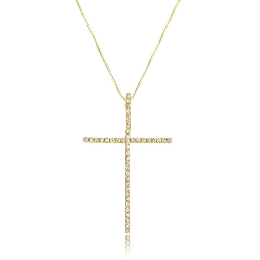 Colar com pingente de cruz no strass cristal folheado a ouro 18k