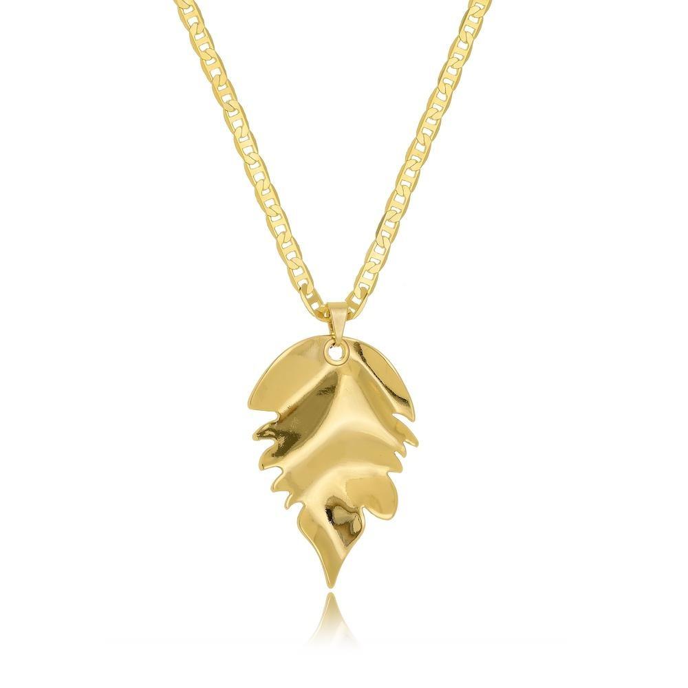 Colar corrente italiana chapada e pingente de folha folheado a ouro 18k