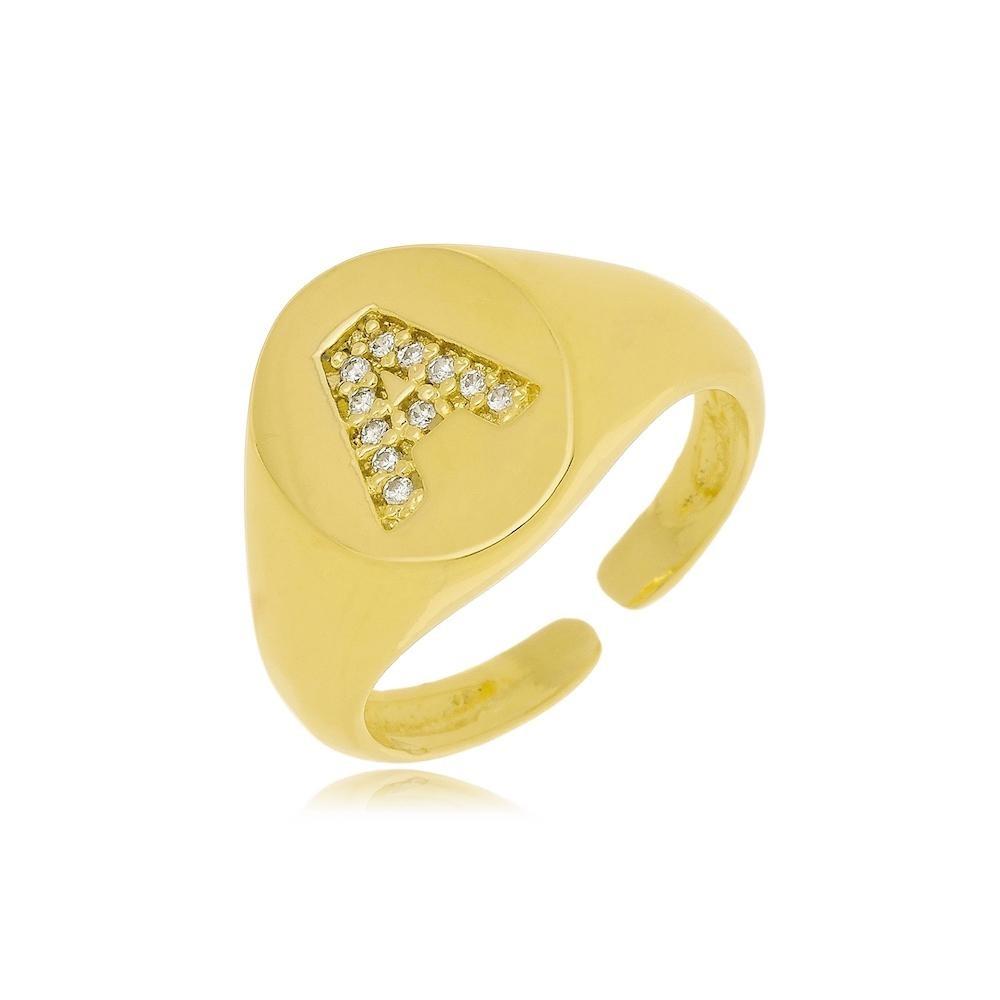 Anel de dedinho Tassia personalizado folheado a ouro 18k
