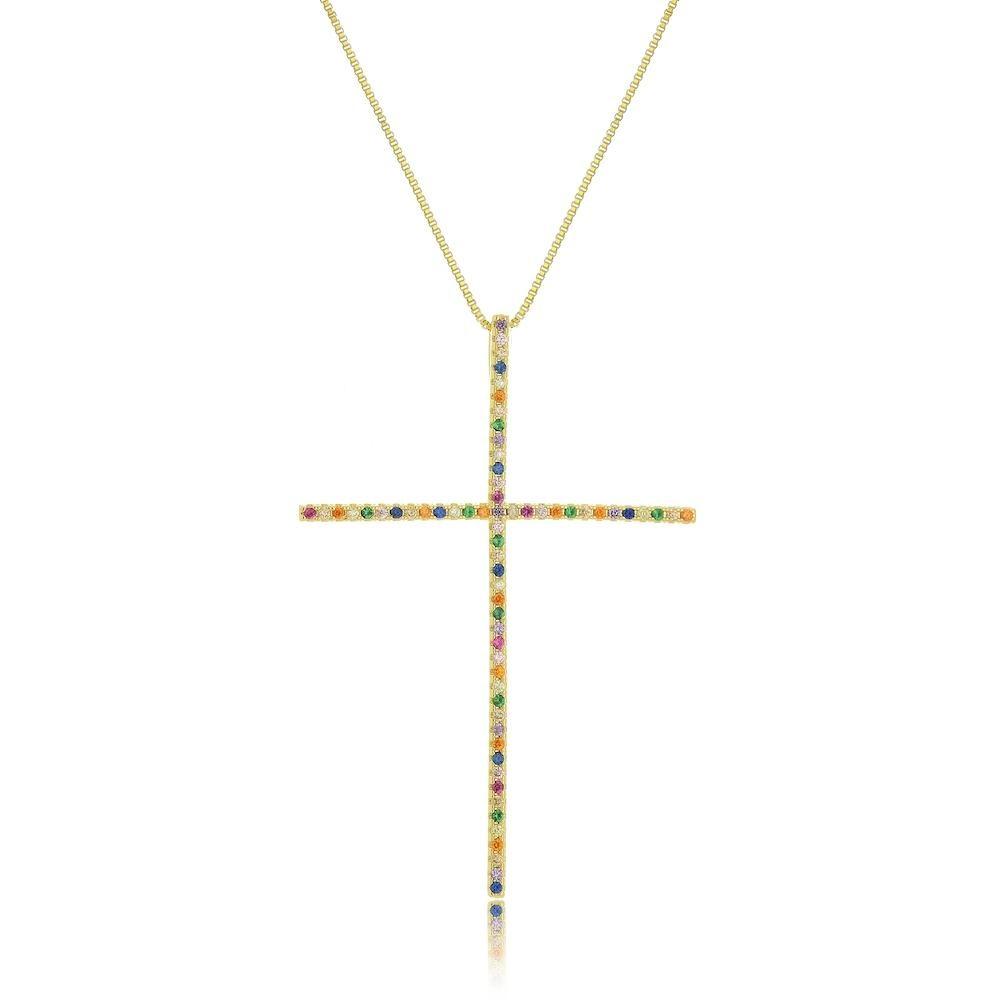 Colar com pingente de cruz com zircônia colorida folheado a ouro 18k