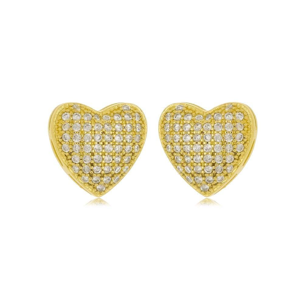 Brinco de coração cravejado com zircônia folheado a ouro 18k