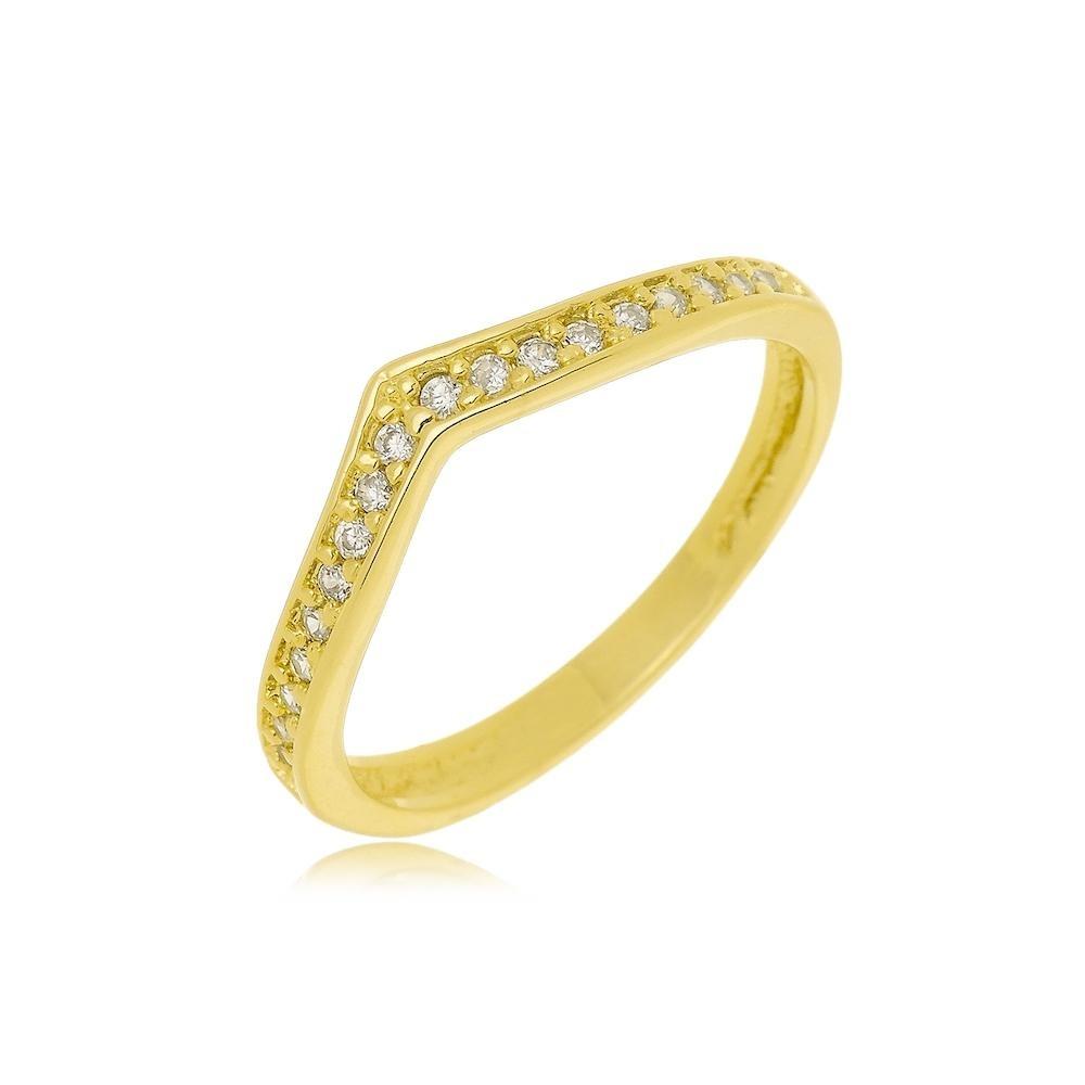 Anel minimalista cravejado com zircônia folheado a ouro 18k