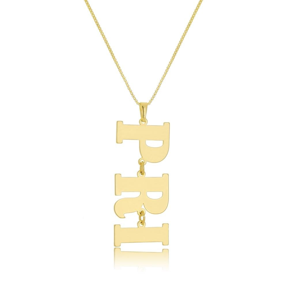 Colar personalizado com letras folheado a ouro 18k
