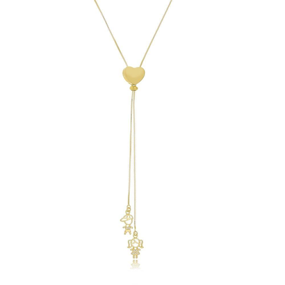 Colar coração gravata personalizado com dois pingentes folheado a ouro 18k