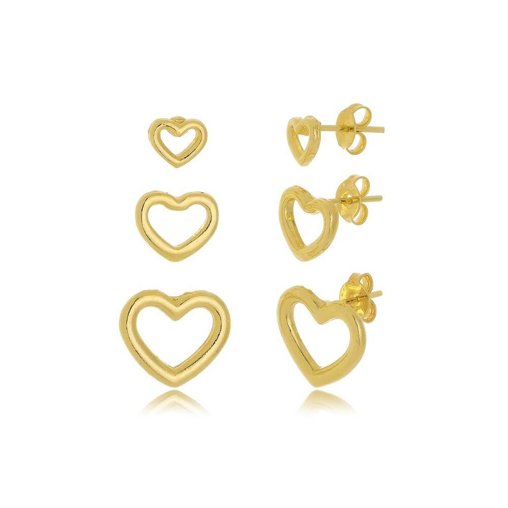 Trio de brincos de coração folheado a ouro 18k