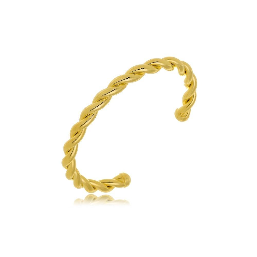 Pulseira bracelete trançado folheado a ouro 18k