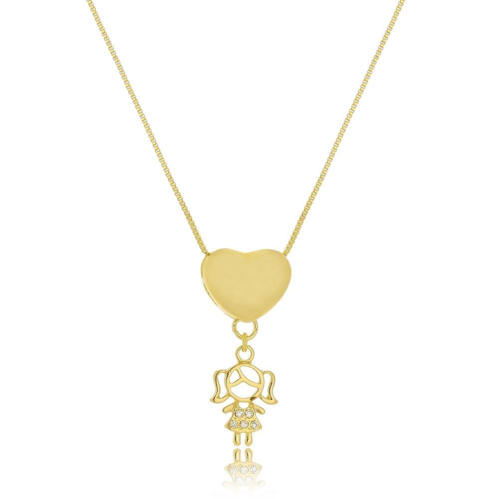 Colar Personalizado com coração e pingente folheado a ouro 18k