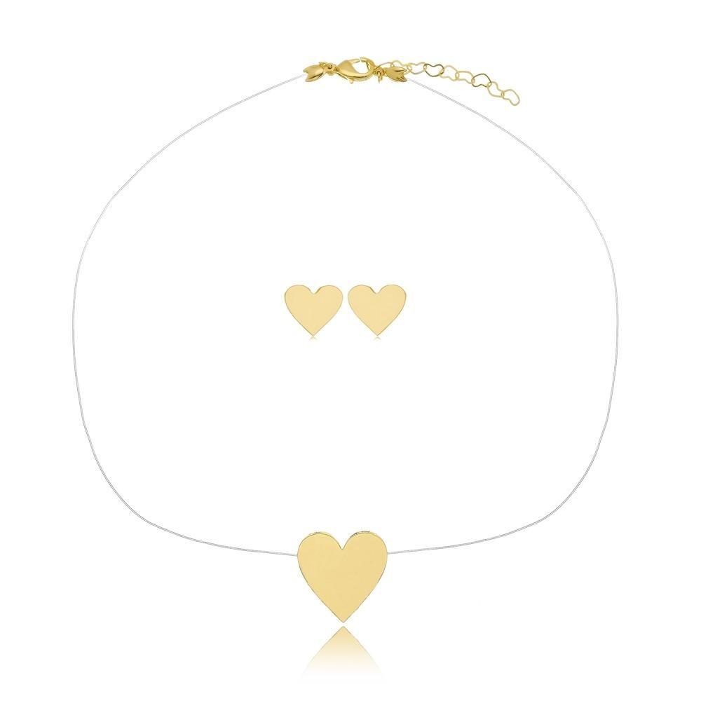 Conjunto de coração com linha invisível folheado a ouro 18k