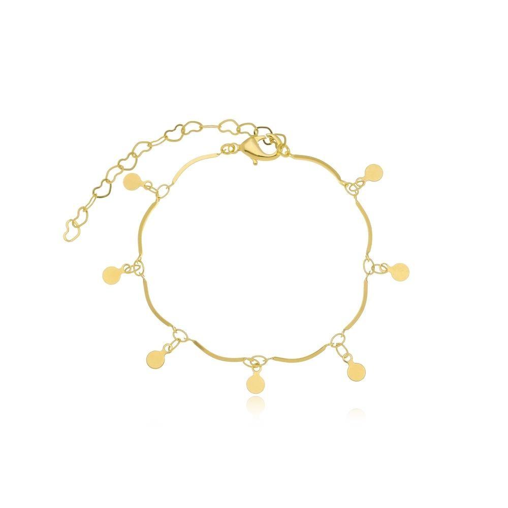 Pulseira minimalista com palitos e pingentes folheado a ouro 18k