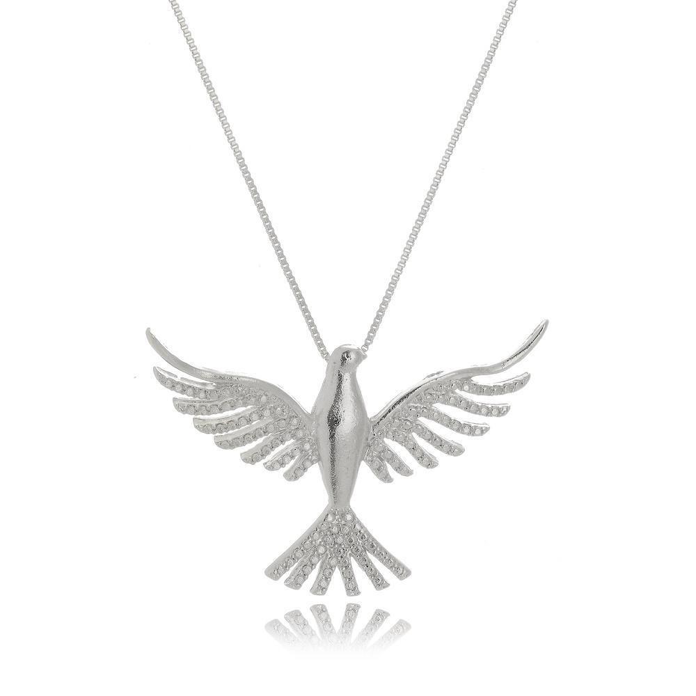 Colar com pingente de pomba do Espírito Santo na cor prata ródio branco