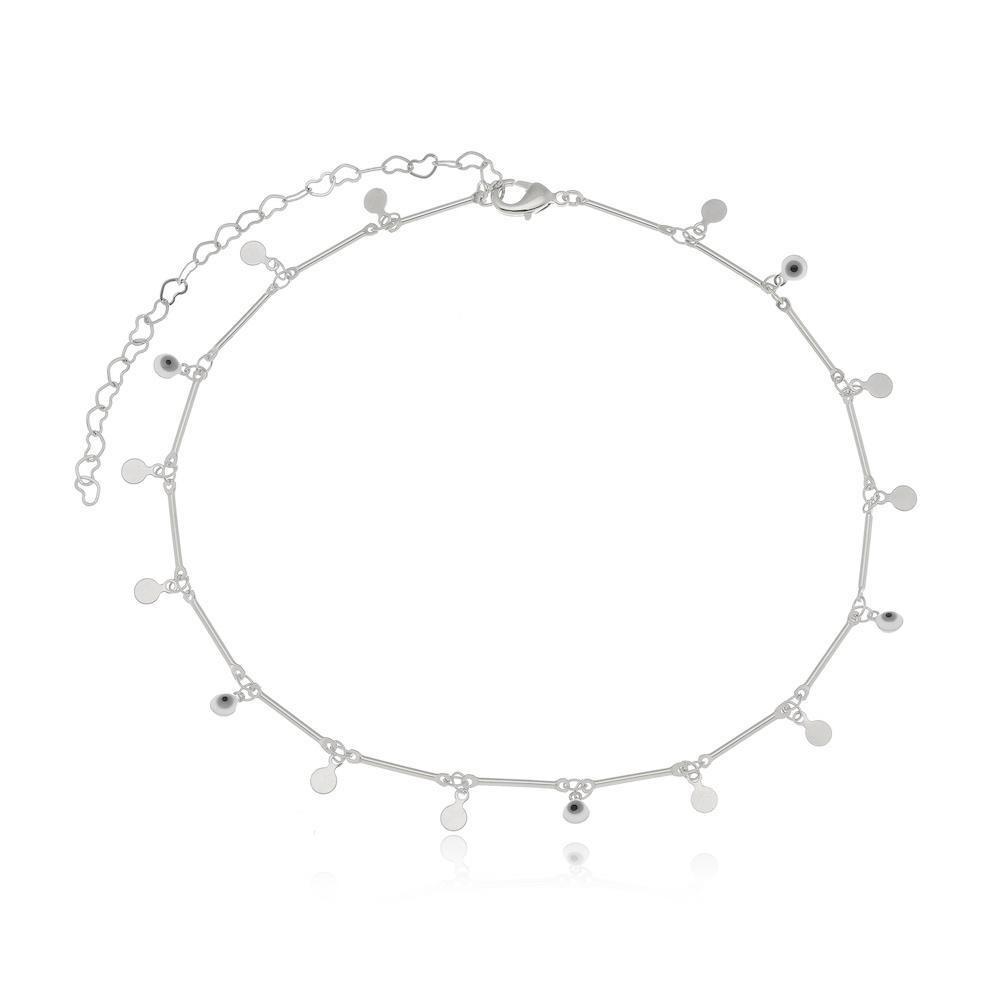 Choker minimalista com pingentes e olho grego na cor prata ródio branco