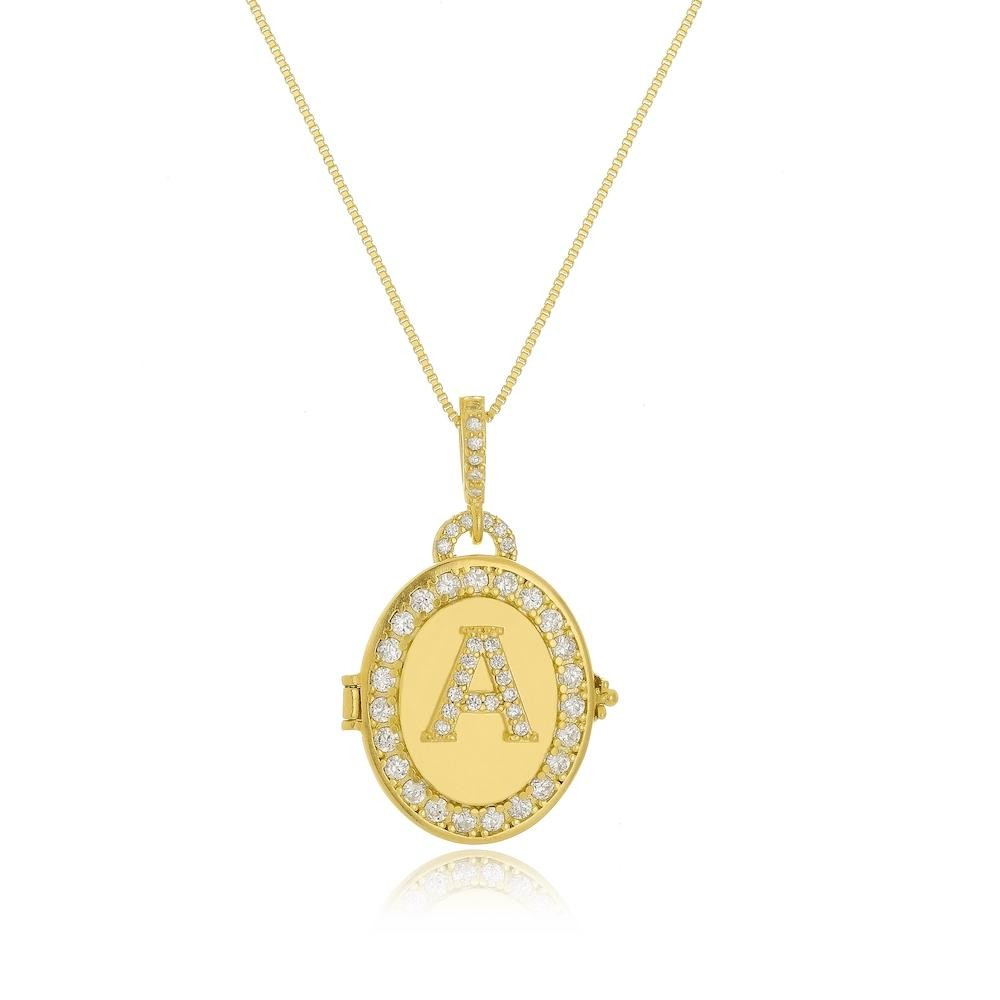 Colar relicário personalizado cravejado com zircônia cristal folheado a ouro 18k