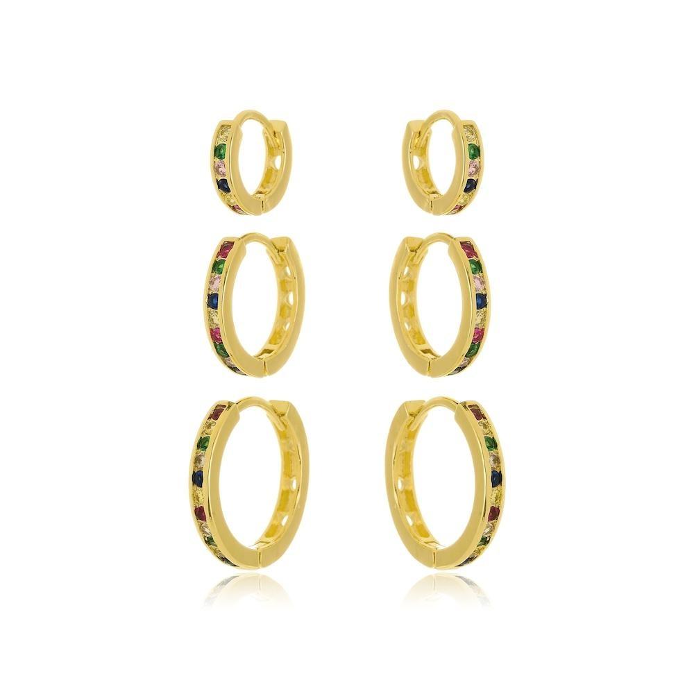 Trio de argola cravejada com zircônia colorida folheada a ouro 18k