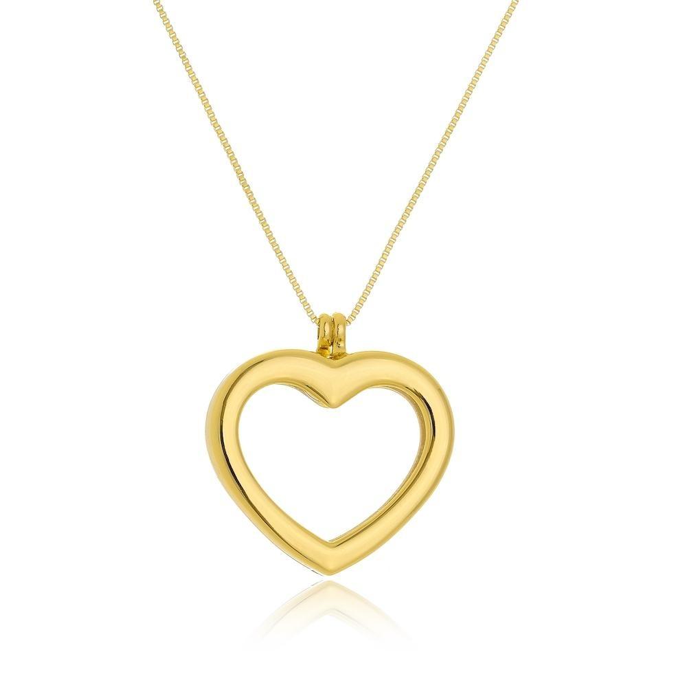 Colar relicário com pingente de coração folheado a ouro 18k