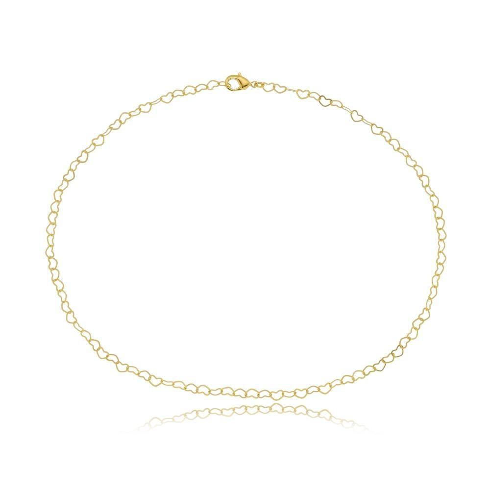 Pulseira minimalista com elos em formato de coração folheada a ouro 18k