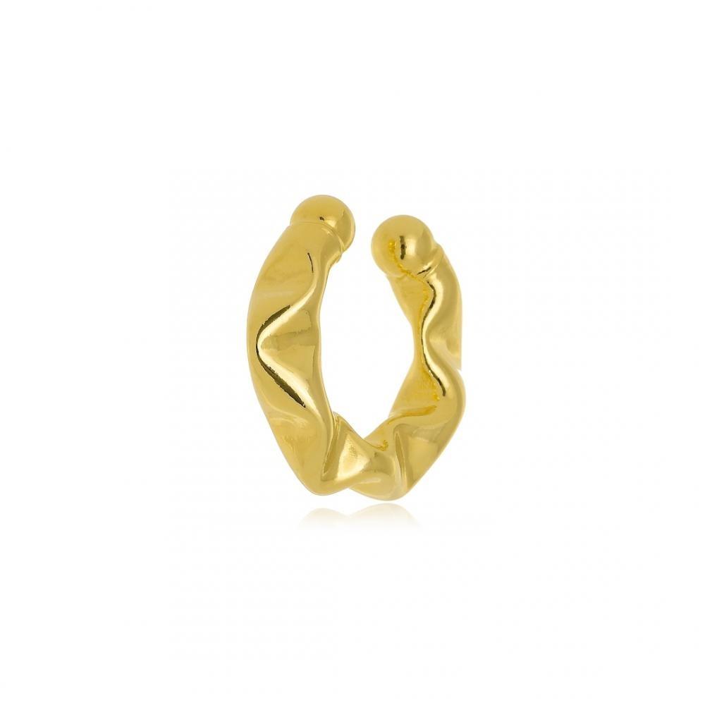 Piercing fake pequeno juliete com ondulações folheado a ouro 18k