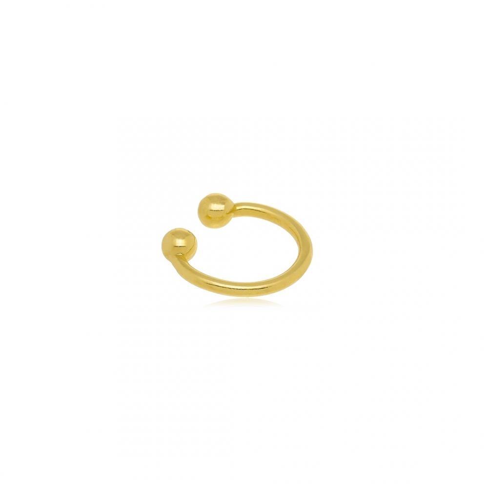 Piercing fake pequeno liso folheado a ouro 18k