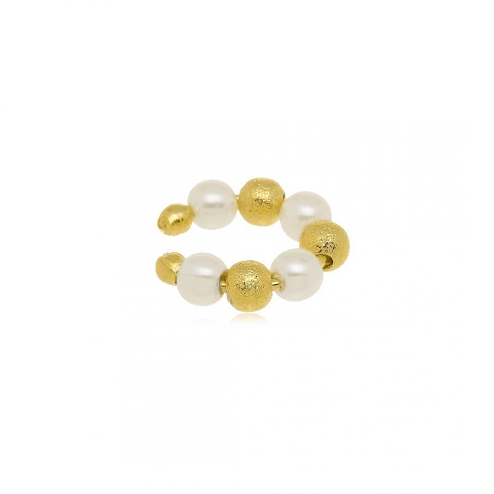 Piercing fake de pressão com mini bolinhas douradas e de pérola folheado a ouro 18k